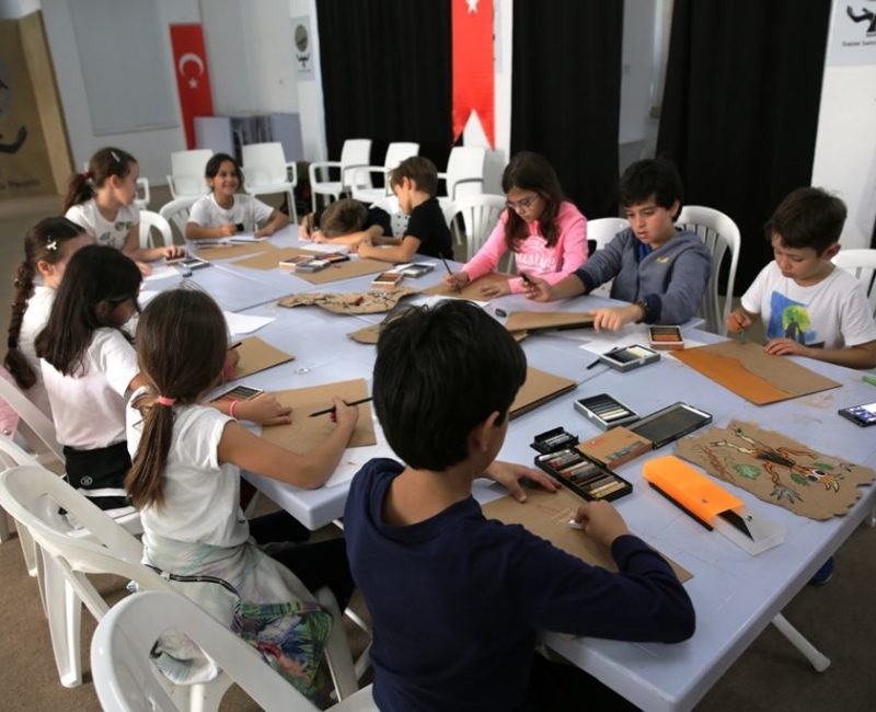 Cave painting workshop with children